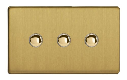 Varilight XDBP3S Screwless Brushed Brass 3 Gang 6A 1 or 2 Way Push-On/Off Impulse Switch